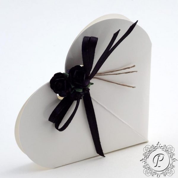 White Gloss Heart Wedding Favour Box