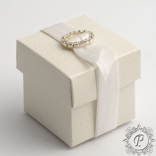 White Pelle Cube Corpercio Wedding Favour Box