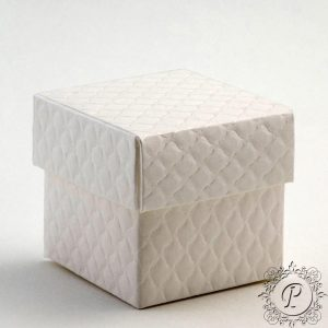White Quilted Cube Corpercio Wedding Favour Box