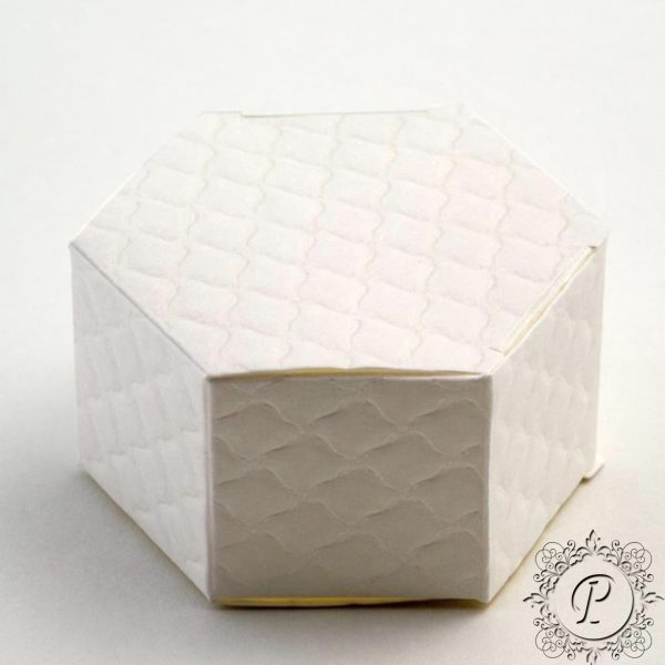 White Quilted Hex Astuccio Wedding Favour Box
