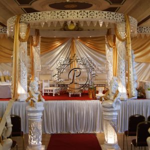White Crystal Zali Mandap dressed in a white and gold theme