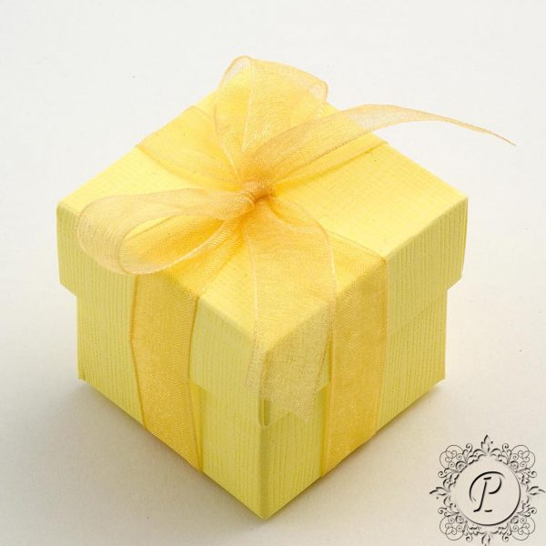 Yellow Cube Corpercio Wedding Favour box
