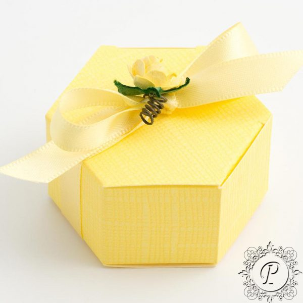 Yellow Hex Astuccio Wedding Favour Box