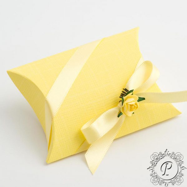 Yellow Pillow Bustina Wedding Favour Box